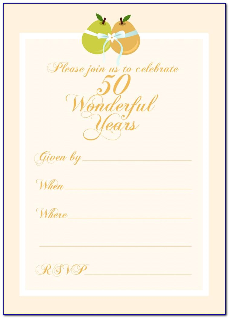 50th Wedding Anniversary Invitation Template Free