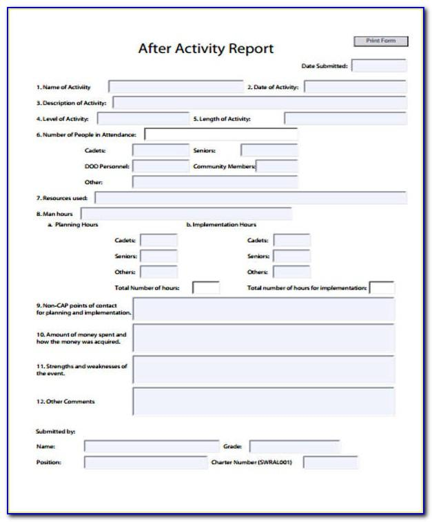Activity Report Template Word
