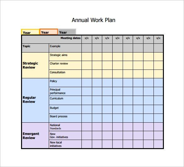 Annual Work Schedule Template Excel