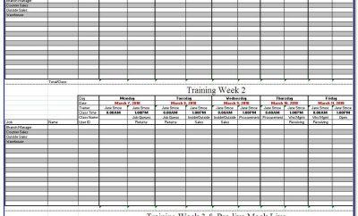 Army Weekly Training Calendar Template