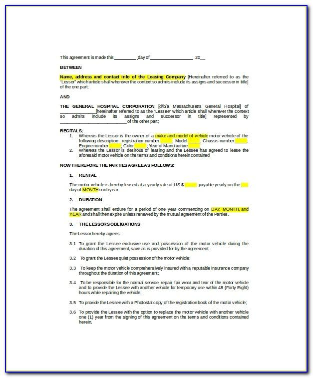 Auto Sublease Agreement Template