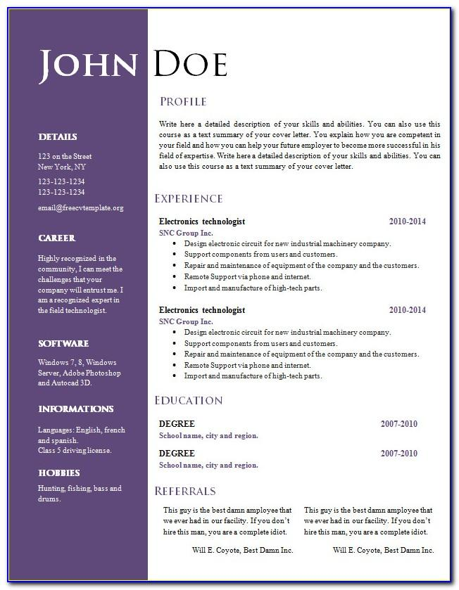 Best Word Document Resume Template
