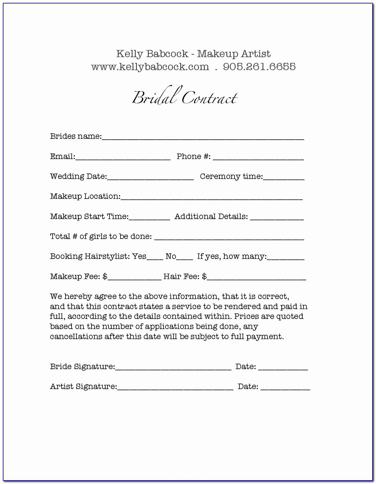 Bridal Makeup Contract Examples