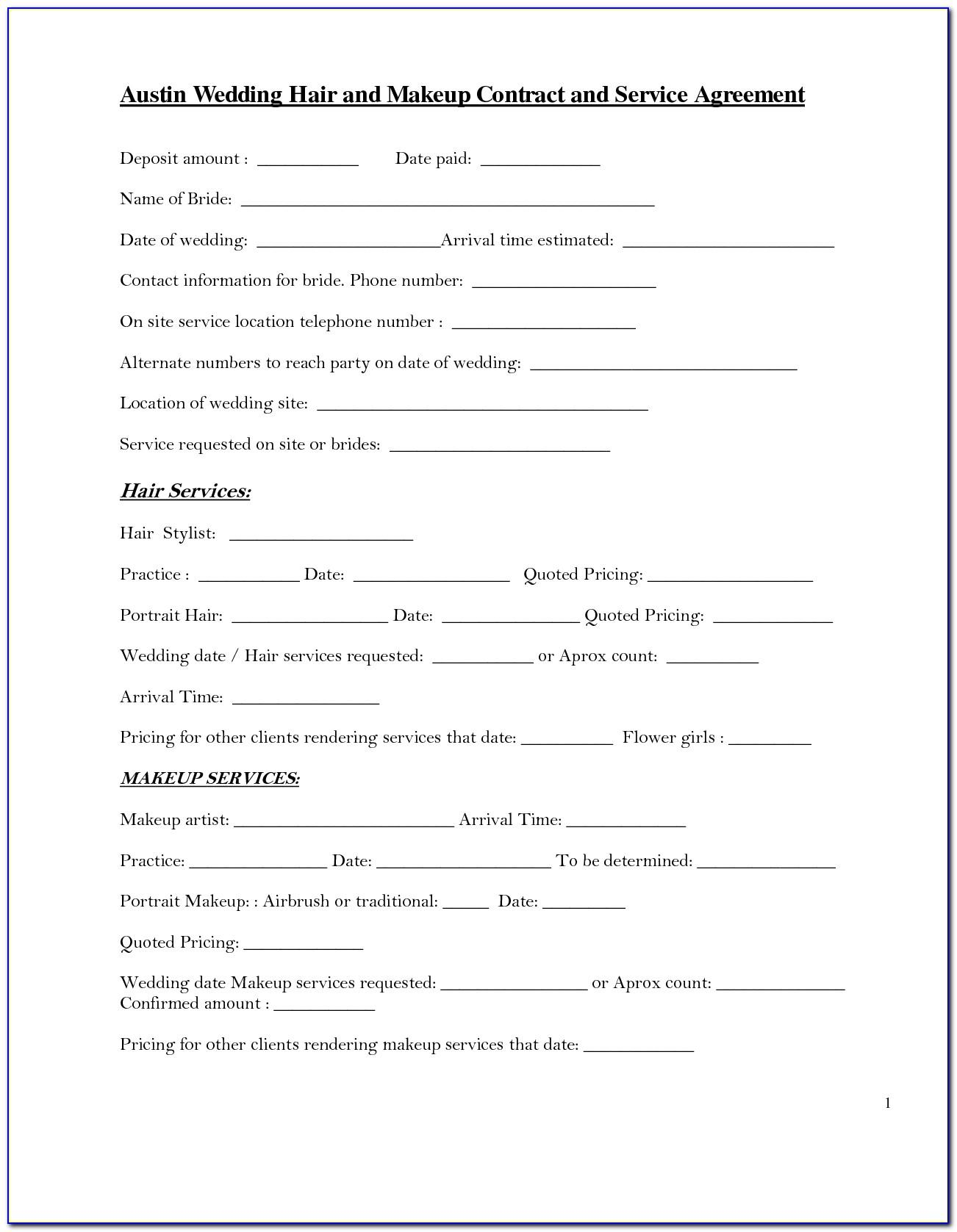 Bridal Makeup Contract Form