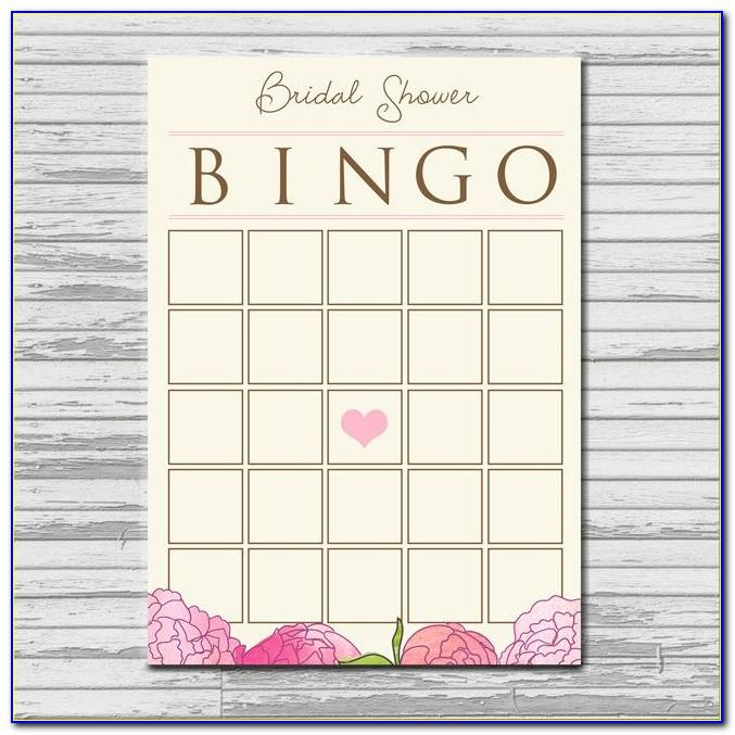 Bridal Shower Bingo Template Blank