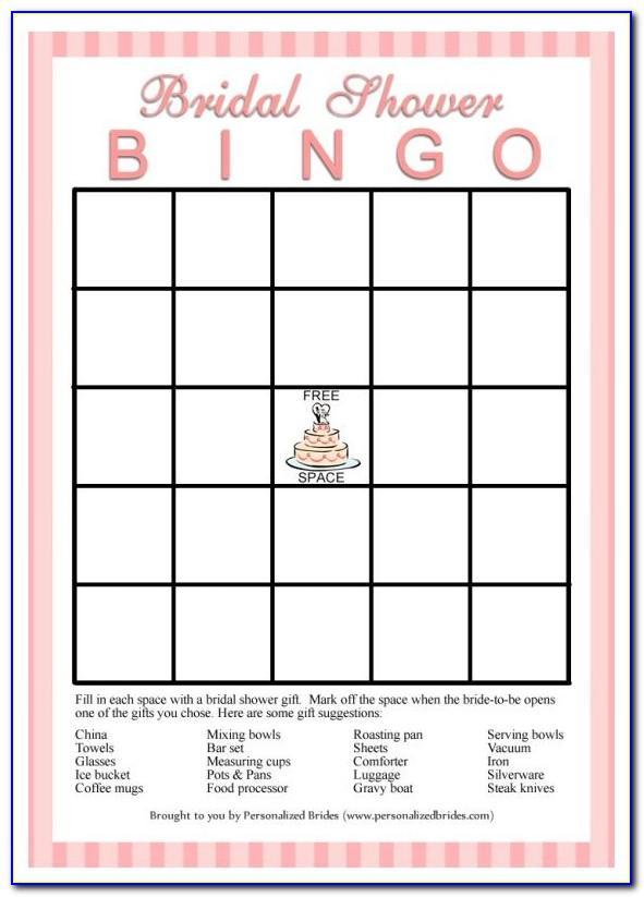 Bridal Shower Bingo Template Free Download