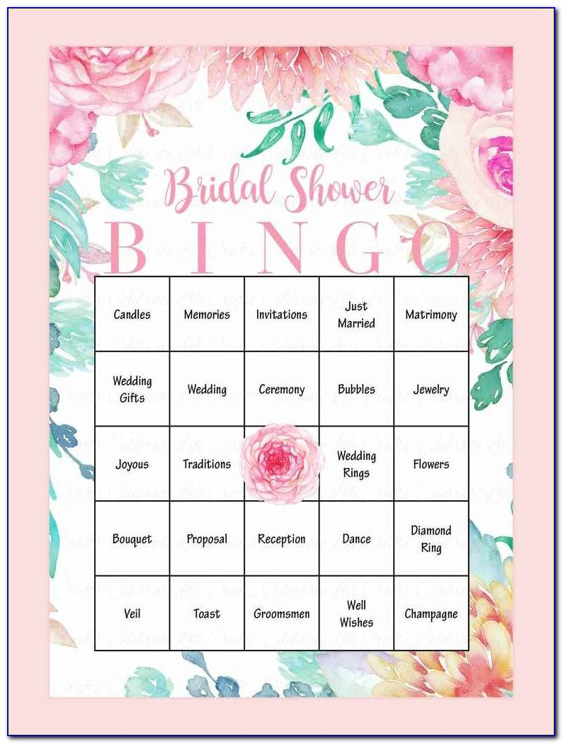 Bridal Shower Bingo Template Free Printable