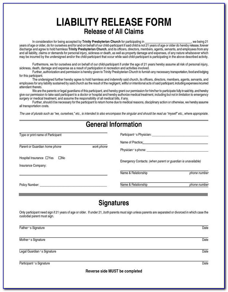 Car Accident Waiver And Release Of Liability Form Template