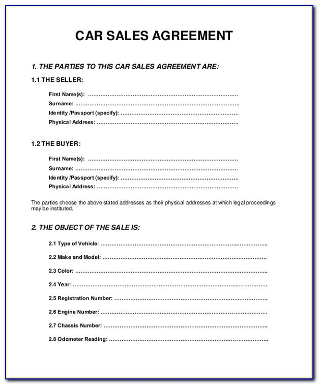 Car Sales Agreement Template Australia