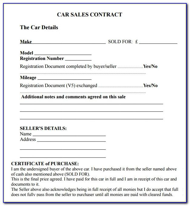 Car Sales Agreement Template Canada