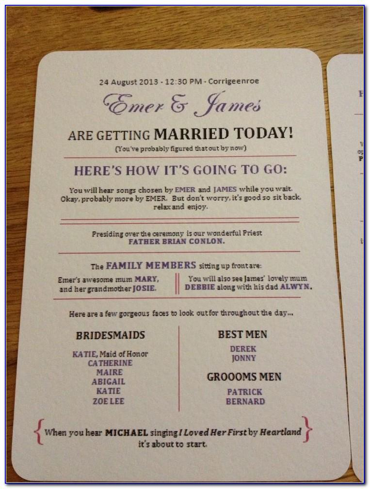 Catholic Wedding Ceremony Booklet Template Free