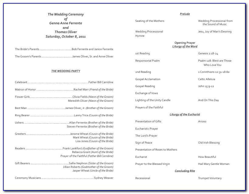 Catholic Wedding Mass Program Template