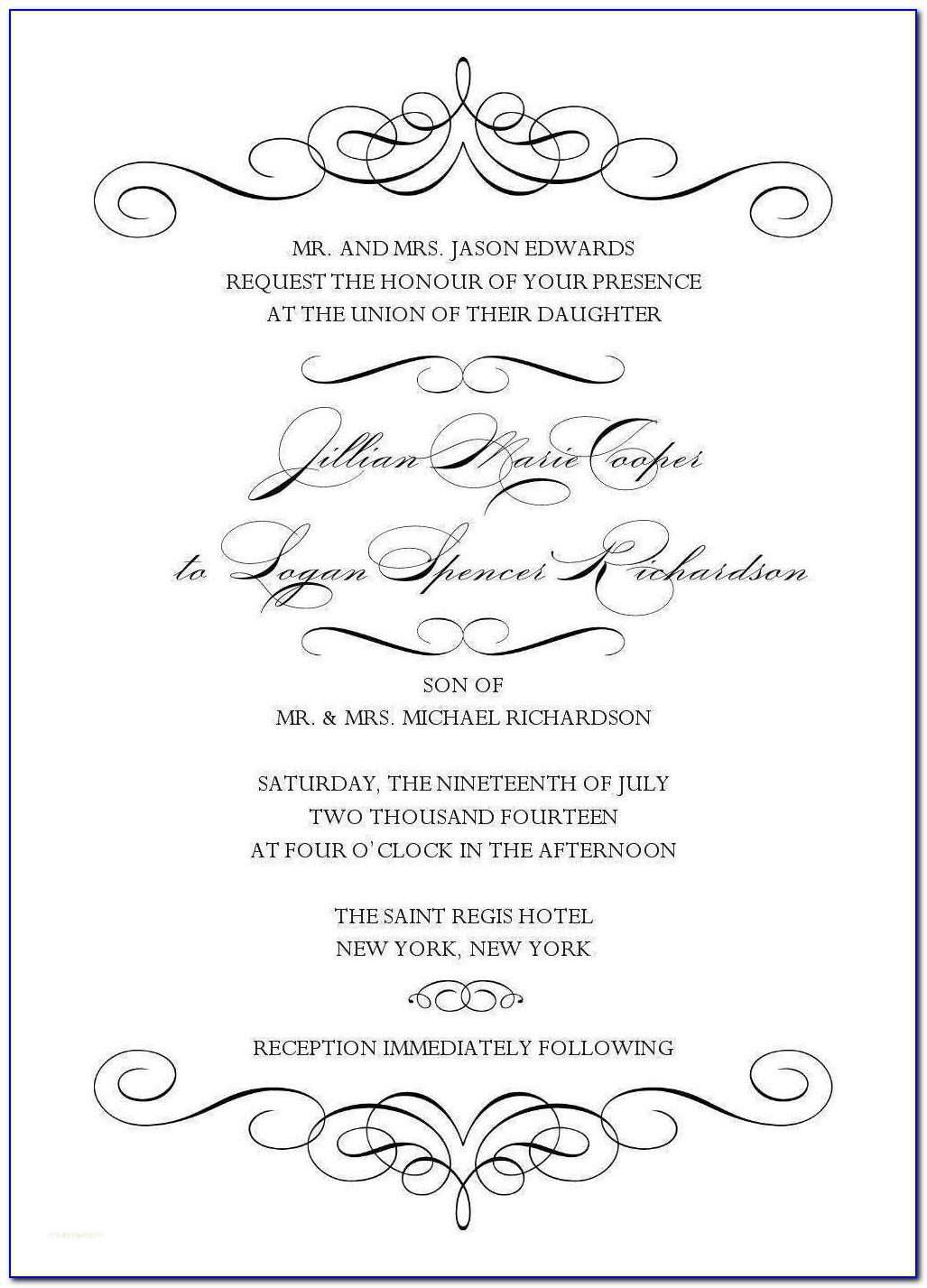 Christian Wedding Invitation Wording Templates Free