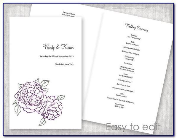 Civil Ceremony Wedding Booklet Template