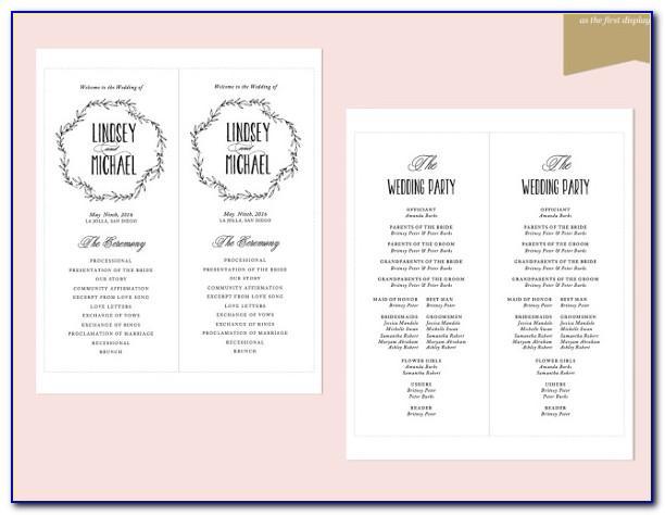 Civil Wedding Ceremony Booklet Template