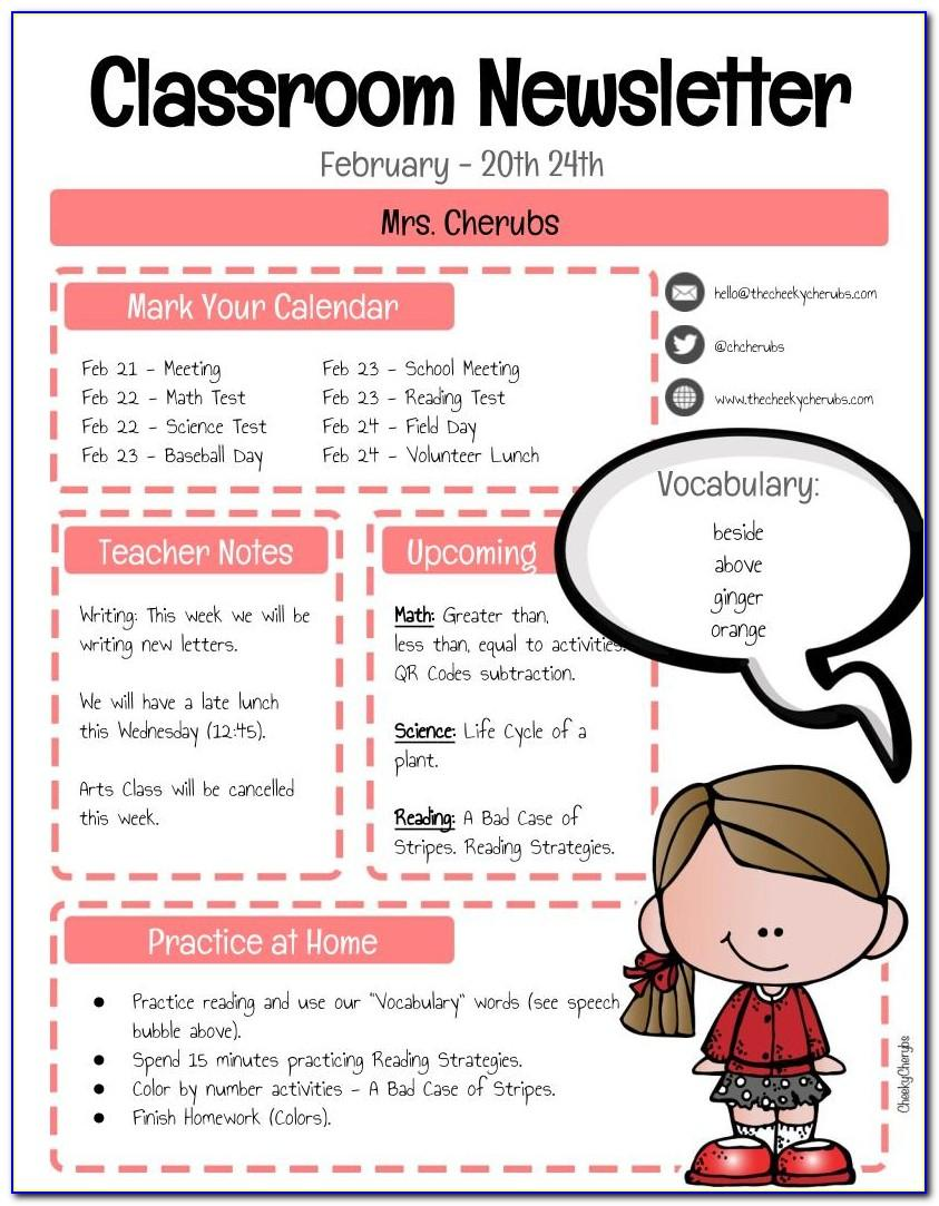 Classroom Newsletter Templates Free Printable