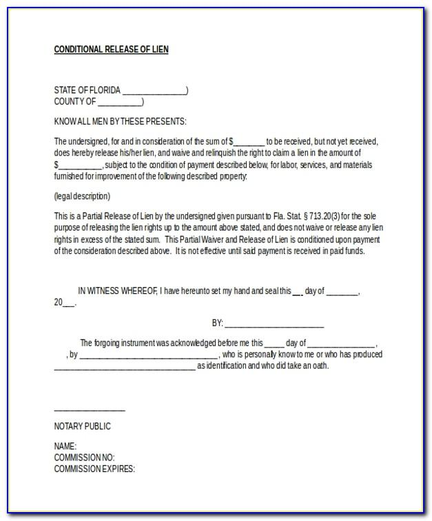 Conditional Waiver Of Lien Form Florida