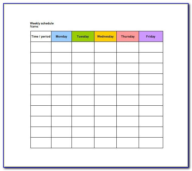 Daily Weekly Schedule Template Printable