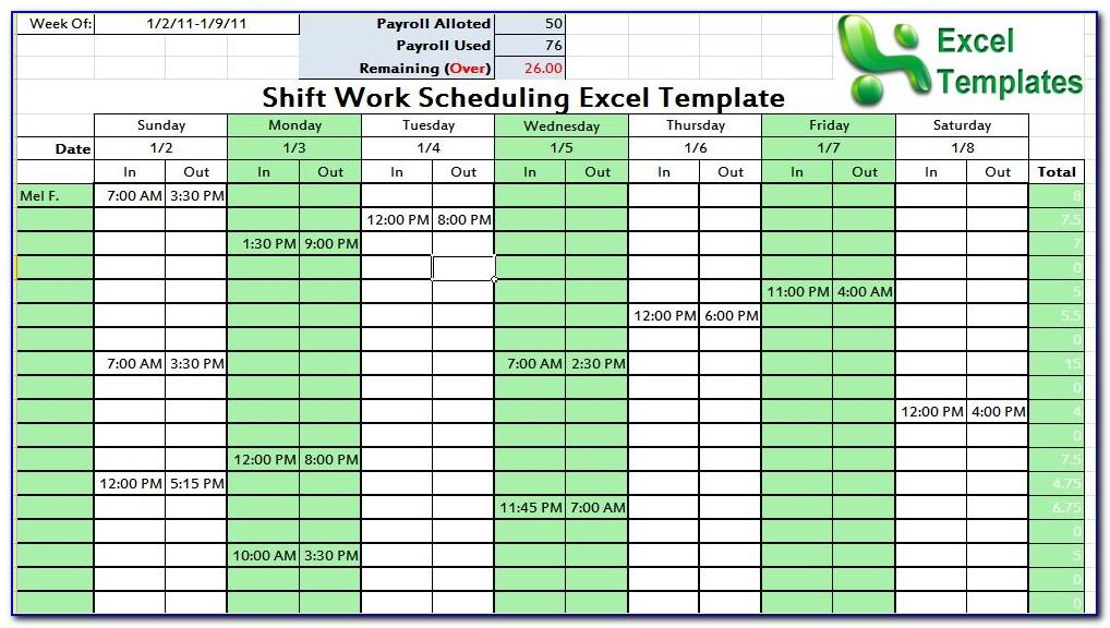 Daily Work Planner Excel Template