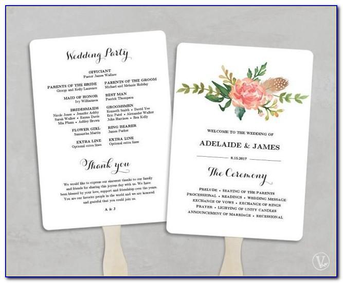 Diy Wedding Fan Program Template Free