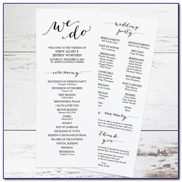 Diy Wedding Programs Templates Free