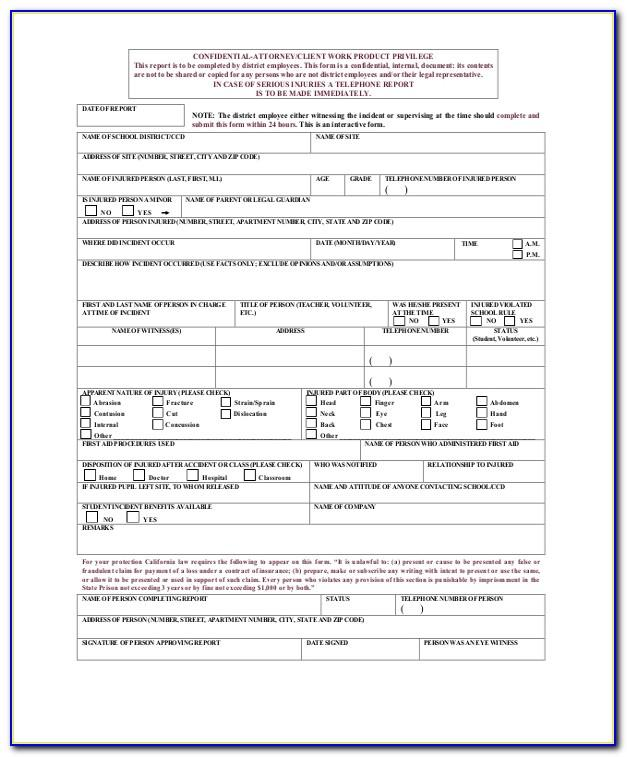 Employee Accident Report Sample