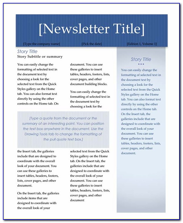 Employee Newsletter Template Microsoft Word