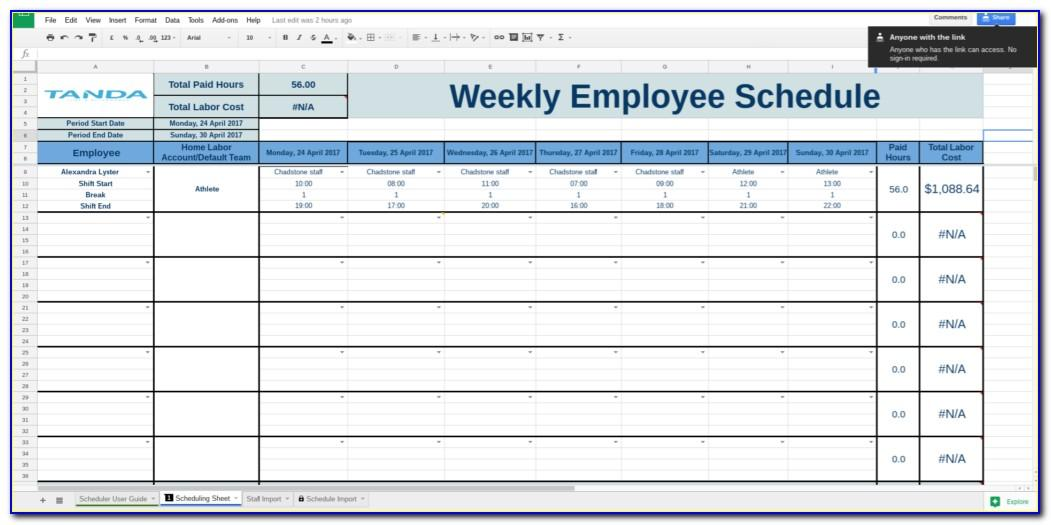 Employee Work Schedule Template Monthly