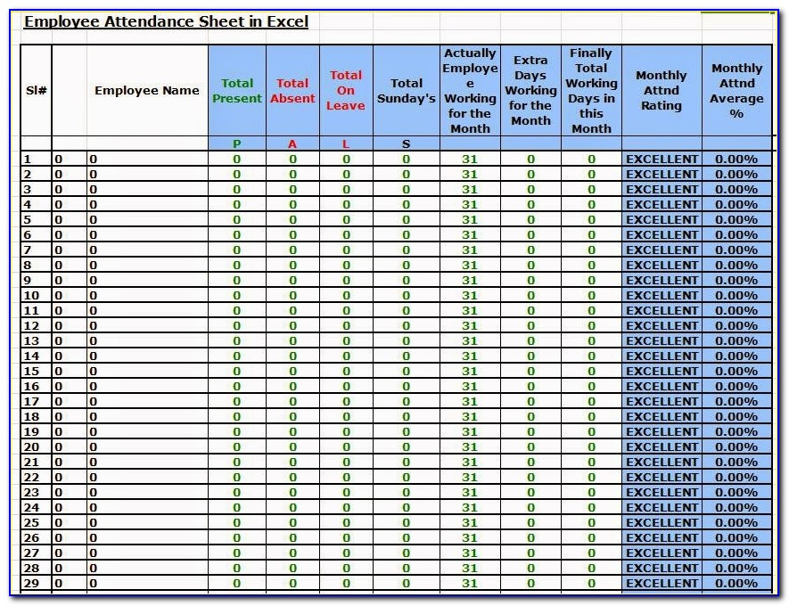 Employees Attendance Sheet Template Excel