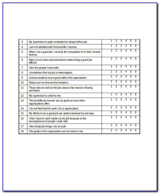 Employees Satisfaction Survey Questionnaire Pdf