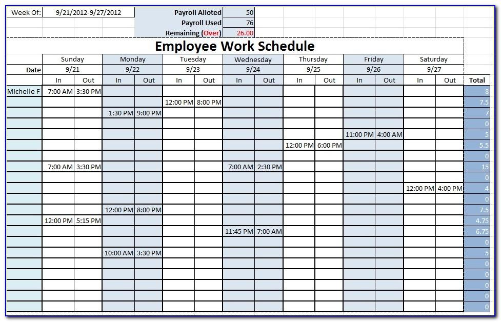Employees Scheduling Excel Templates