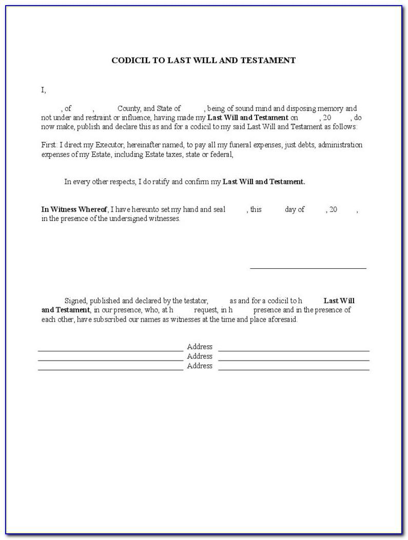 Examples Of Last Wills And Testaments Templates