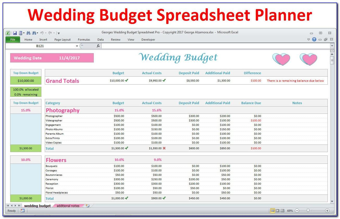 Excel Wedding Budget Template Uk