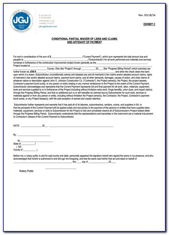 Final Waiver Of Lien Sample