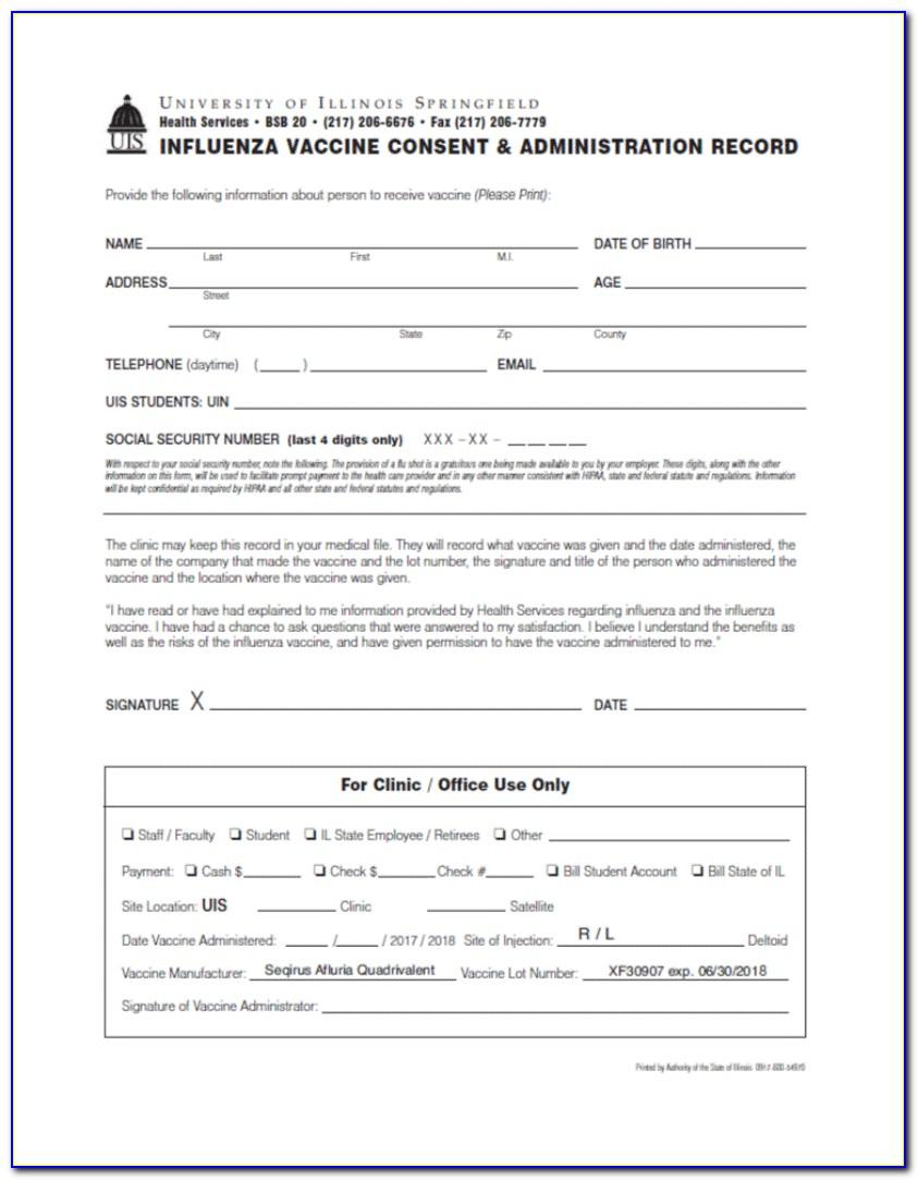 Flu Shot Consent Form Template