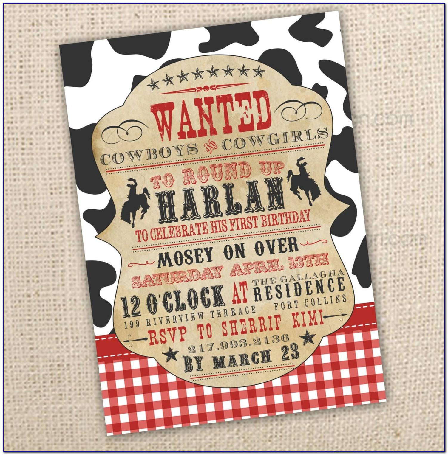 Free Cowboy Birthday Invitation Templates