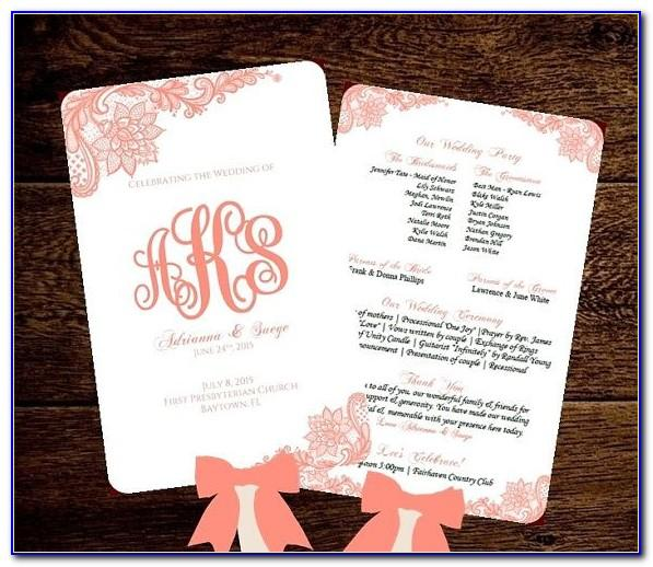 Free Downloadable Wedding Fan Program Templates Microsoft Word