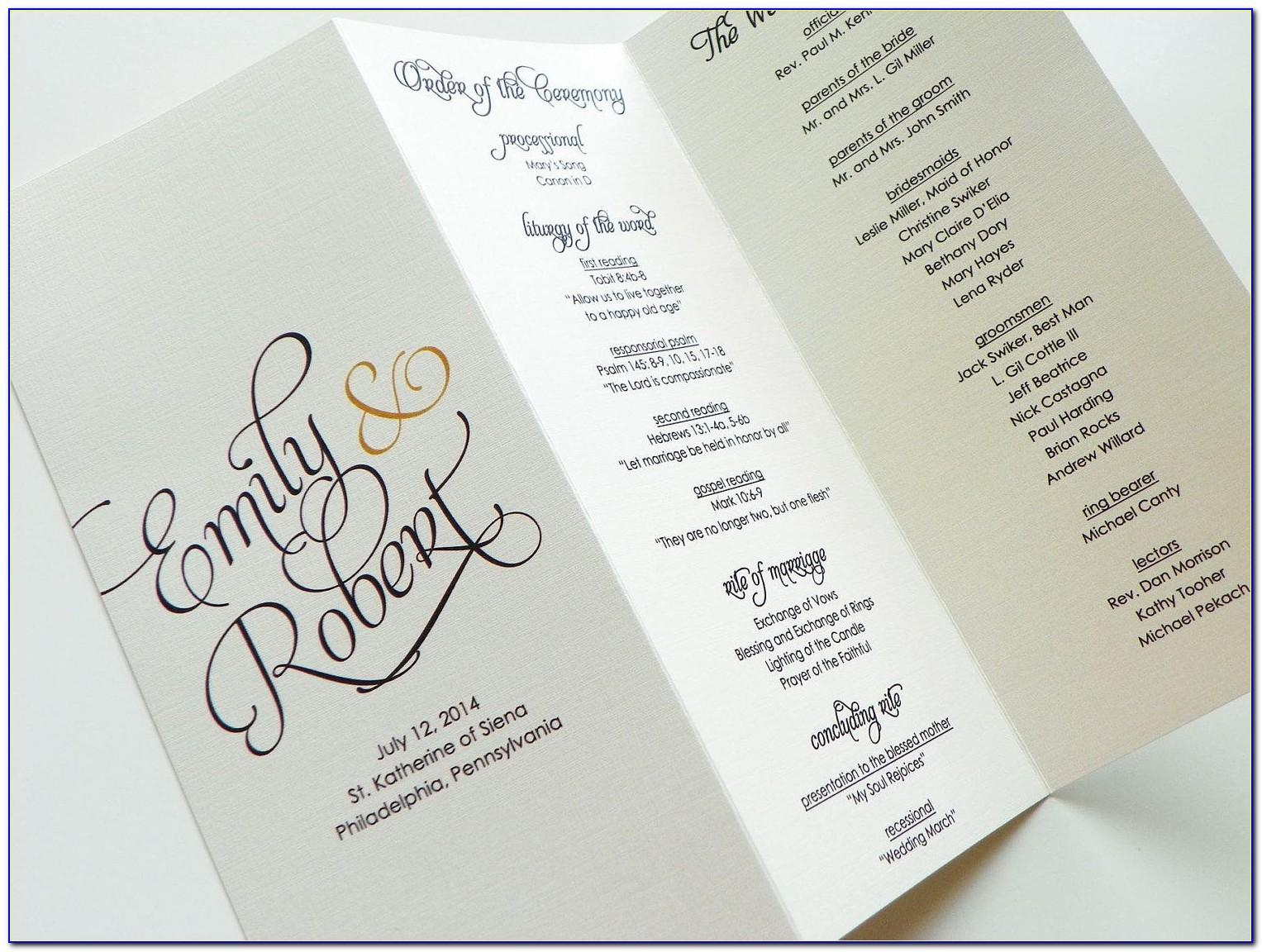 Free Downloadable Wedding Program Booklet Templates