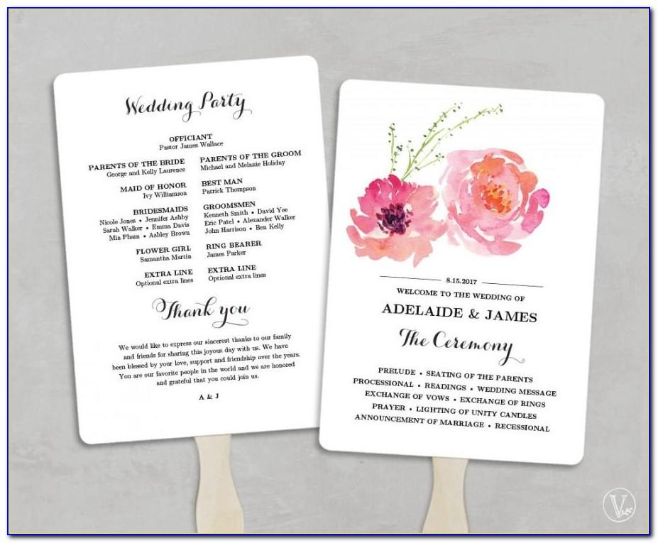 Free Downloadable Wedding Program Fan Templates Microsoft Word