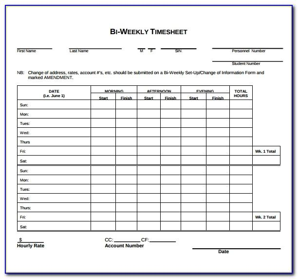 Free Excel Weekly Timesheet Template With Formulas