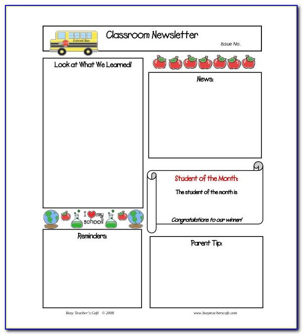 Free Newsletter Templates For Elementary Teachers