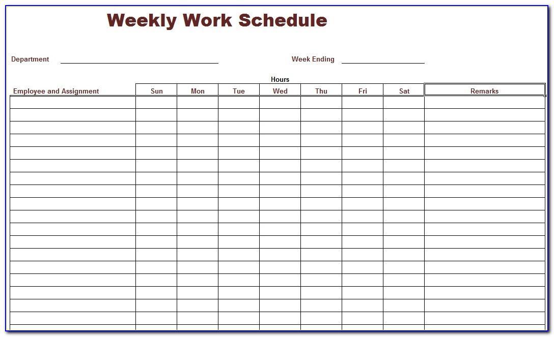 Free Online Work Schedule Template