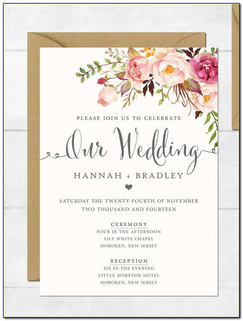 Free Printable Wedding Invitation Wording Templates