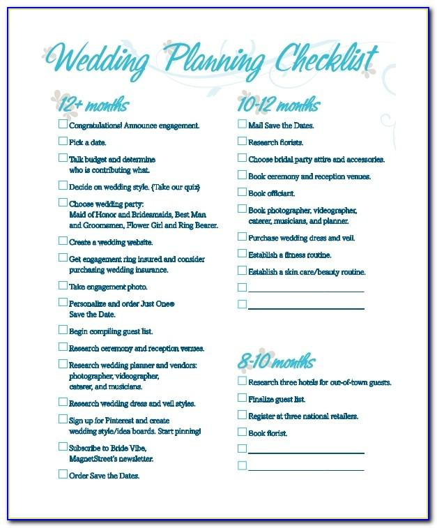 Free Printable Wedding Planner Checklist Uk