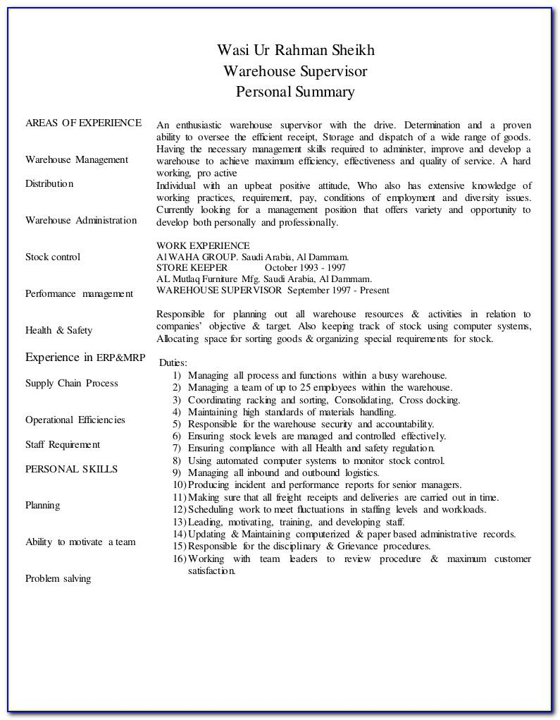 Free Resume Templates Warehouse Worker