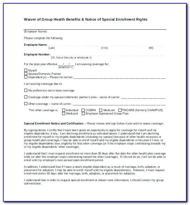 Free Waiver Form Template Canada