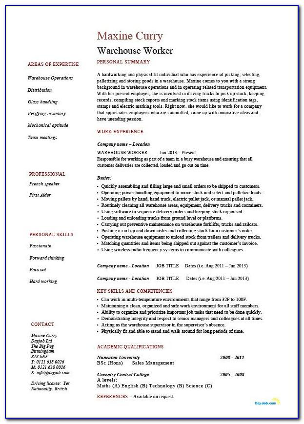 Free Warehouse Worker Resume Templates