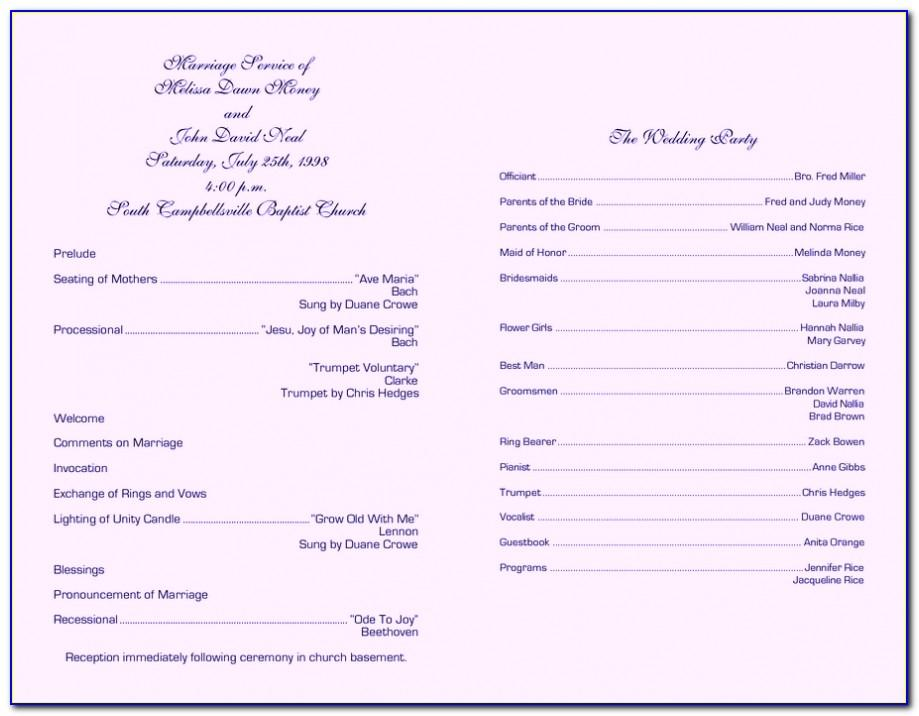 Free Wedding Church Booklet Template