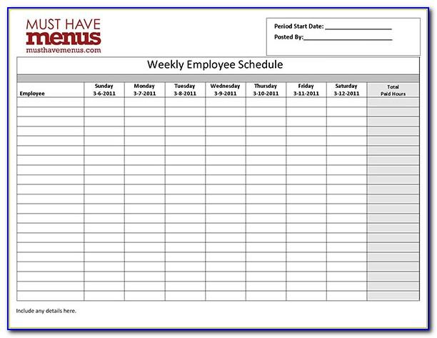 Free Weekly Employee Work Schedule Template Pdf