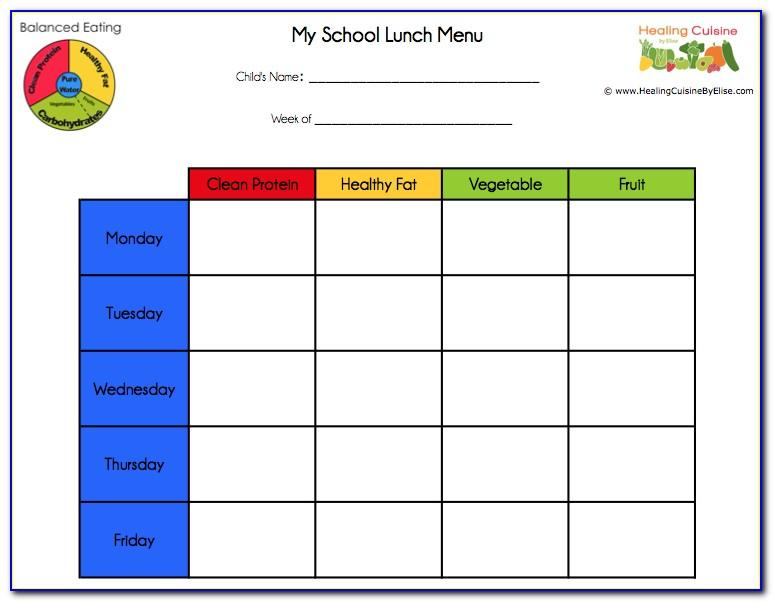 Free Weekly Lunch Menu Template